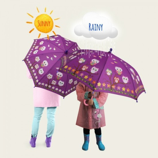 Colour Change Kids Umbrella - Owls