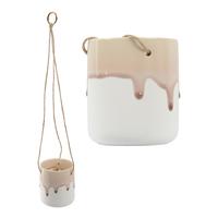 Hanging Crackle Glaze Planter Pot - Winter Frost Pink