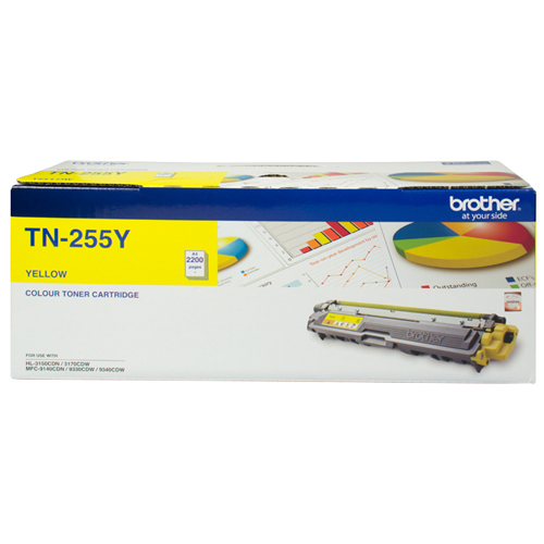 Brother TN-255Y High Yield Toner (Yellow)