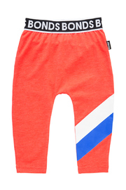 Bonds Sport Stretchy Leggings - Stripe Slay Red (3-6 Months)
