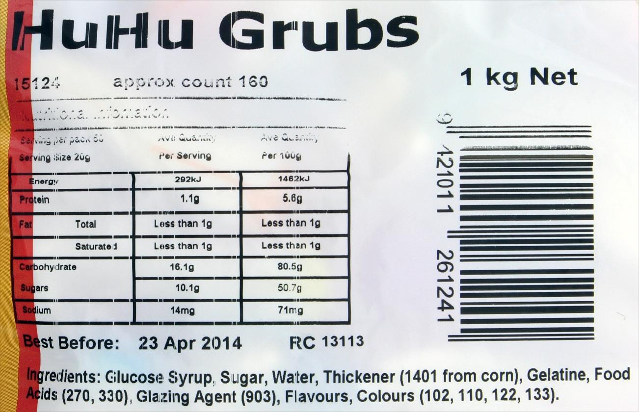 Huhu Grubs Lollies 1kg - Rainbow Confectionery image