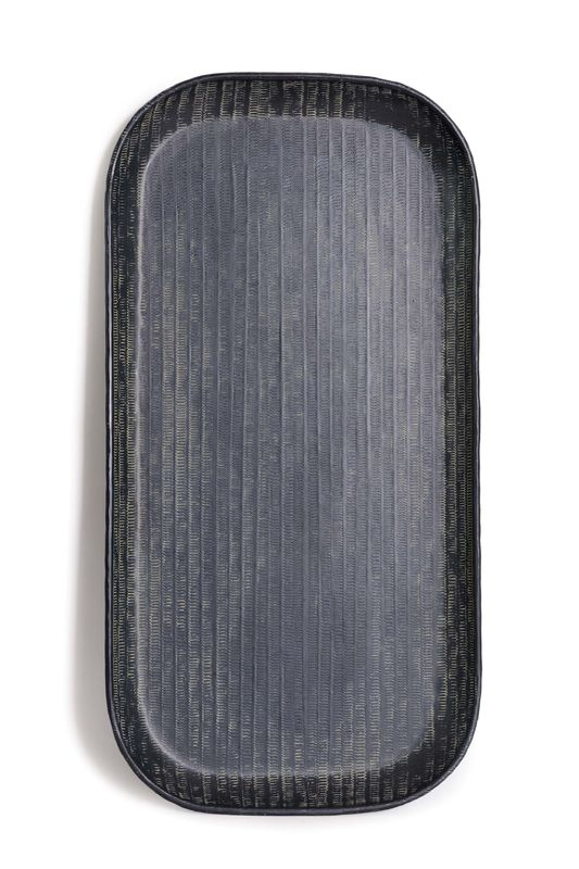 Nadee Tray Oblong - Black Small Metal