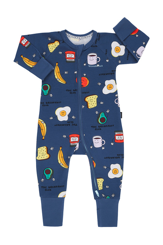 Bonds: Zip Wondersuit Long Sleeve - Breakfast Club French Chambray (6-12 Months)
