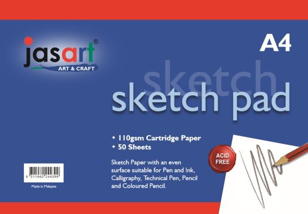 Jasart: Gummed Sketch Pad - A4 (50 Sheets)