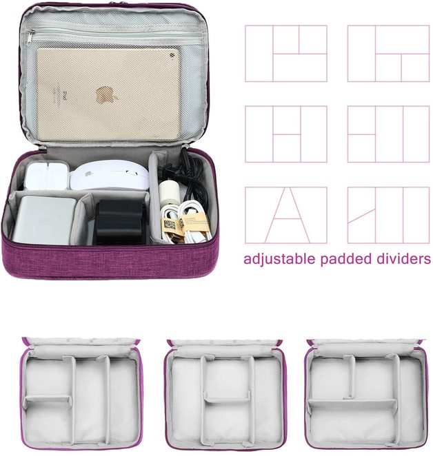 Three-layer Electronic Storage Bag - Purple