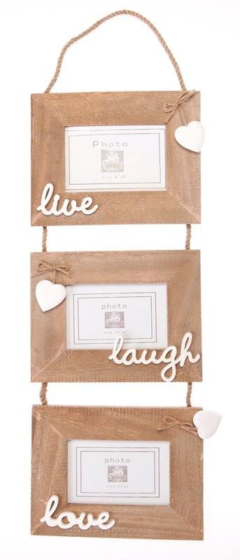 Ashley Farmhouse: Triple Photo Frame - Live Laugh Love