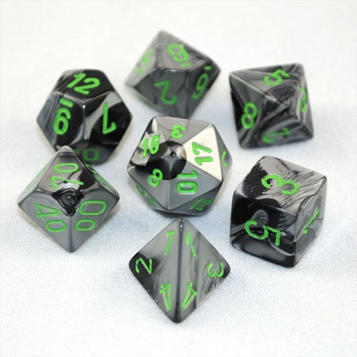 Chessex Gemini Polyhedral Dice Set Black-Grey/Green image