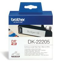 Brother DK-22205 Continuous Paper Label Roll - Black on White (62mm x 30.48m) image