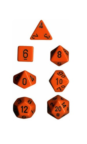 Chessex Opaque Polyhedral Dice Set - Orange/Black