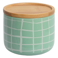 Marlo Canister with Wood Lid - Grid Mint (Small)