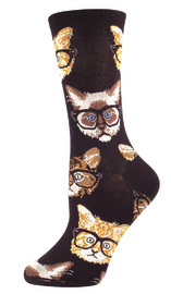 Socksmith: Women's Kittenster Crew Socks - Black/Brown