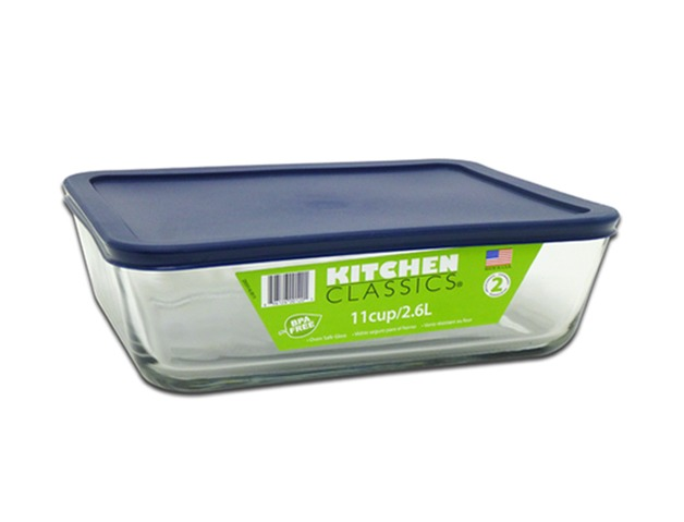 Rectangular Glass Container With Blue Lid - 11 Cup