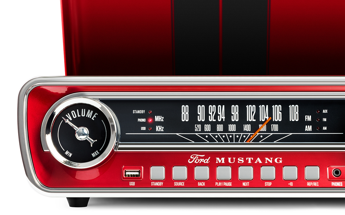 ION Mustang LP 4-in-1 Classic Car-Styled Music Center (Red) image