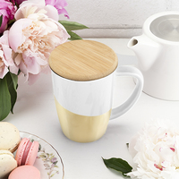 Pinky Up: Bailey Ceramic Tea Mug & Infuser - Gold Dipped