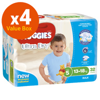 Huggies Ultra Dry Nappies Bulk Value Box - Size 5 Walker Boy (128)