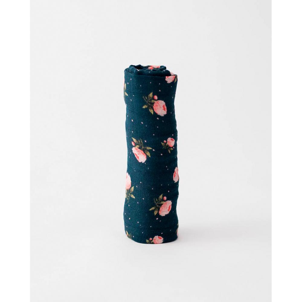 Little Unicorn - Single Cotton Muslin Swaddle - Midnight Rose image