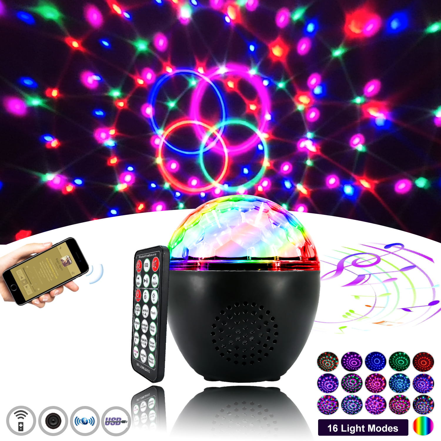 16 LED Party Projector Light with Bluetooth Speaker image