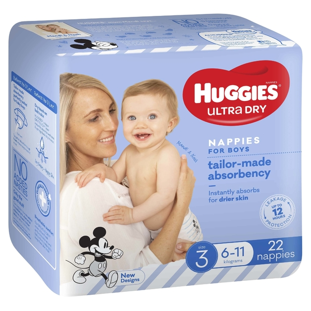 Huggies Ultra Dry Nappies - Size 3 Crawler Boy (22)