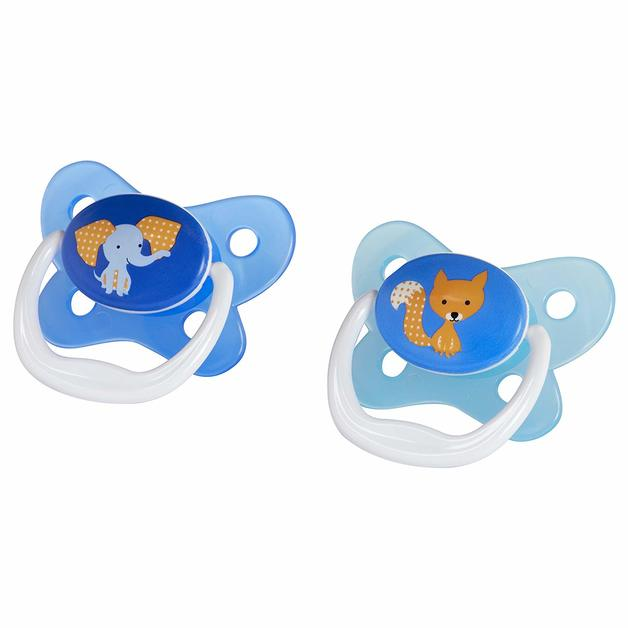 Dr Brown's PreVent Contoured Pacifier: Stage 2 Blue - 6-12mnths (2 Pack)