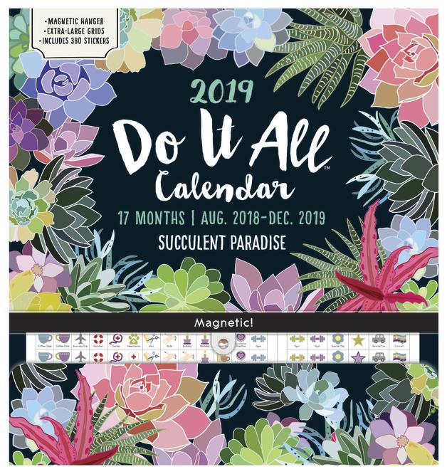 Do It All: Succulent 17 Month 2019 Wall Calendar