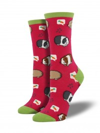 Women's Guinea Pigs Crew Socks - Pink