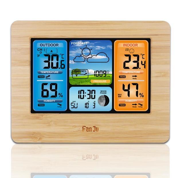 Wireless Sensor LCD Display Weather Station - Wood