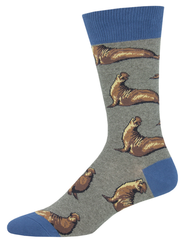 Socksmith: Men's Elephant Seals Crew Socks - Grey Heather