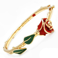 Disney Beauty & The Beast Enchanted Rose Bangle- Yellow Gold