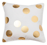 General Eclectic Dots Cushion - White & Gold