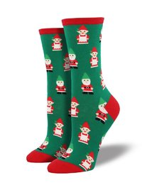 Womens - Green Gnomes Christmas Crew Socks