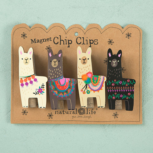 Natural Life: Set of 4 Magnet Chip Clips - Llamas