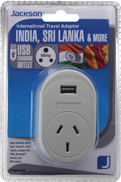 Jackson Outbound Travel Adaptor with USB Charging Outlet (Suits Indian and Sri Lankan Outlets)