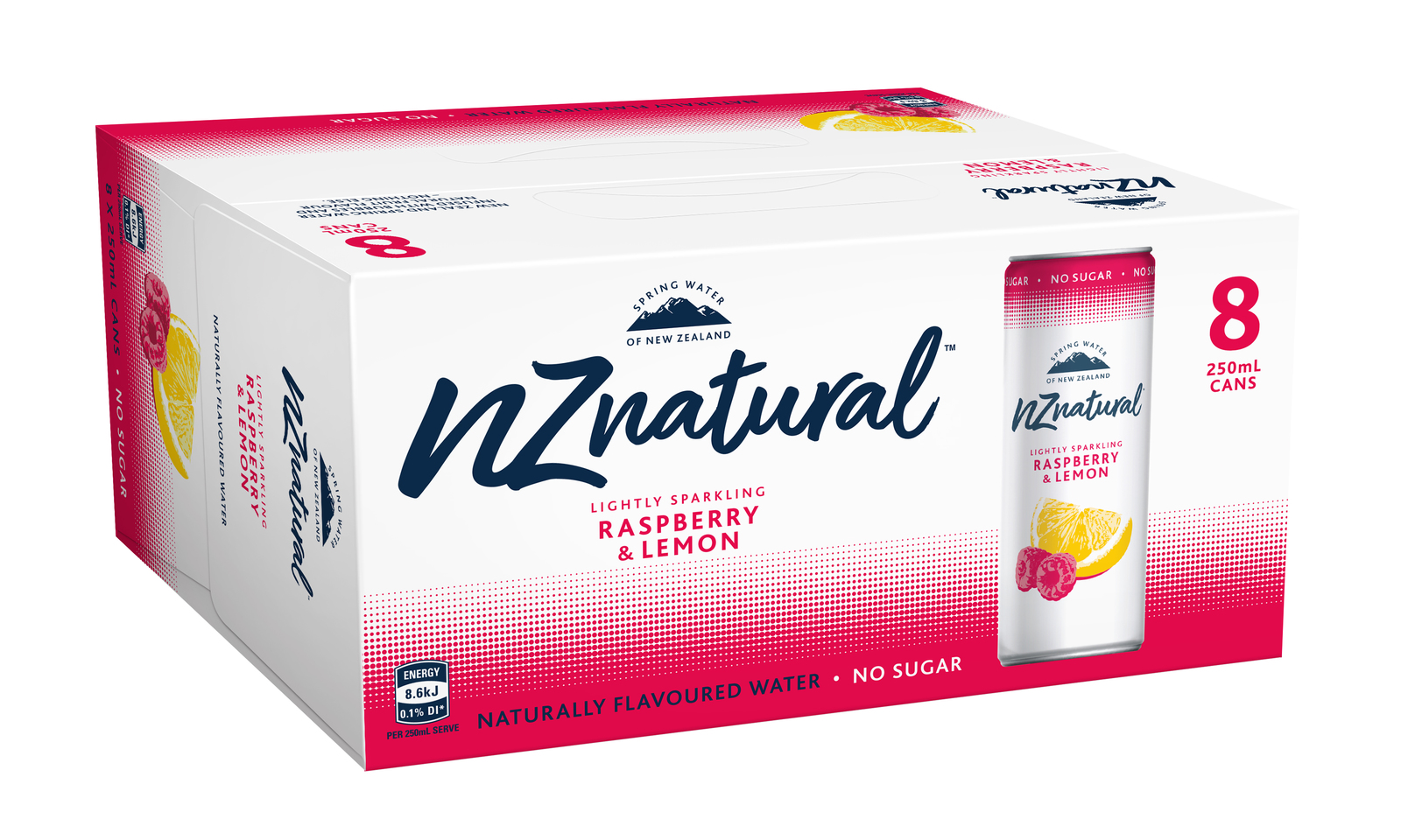 NZ Natural Raspberry & Lemon Sparkling Water 250ml (8 Pack) image