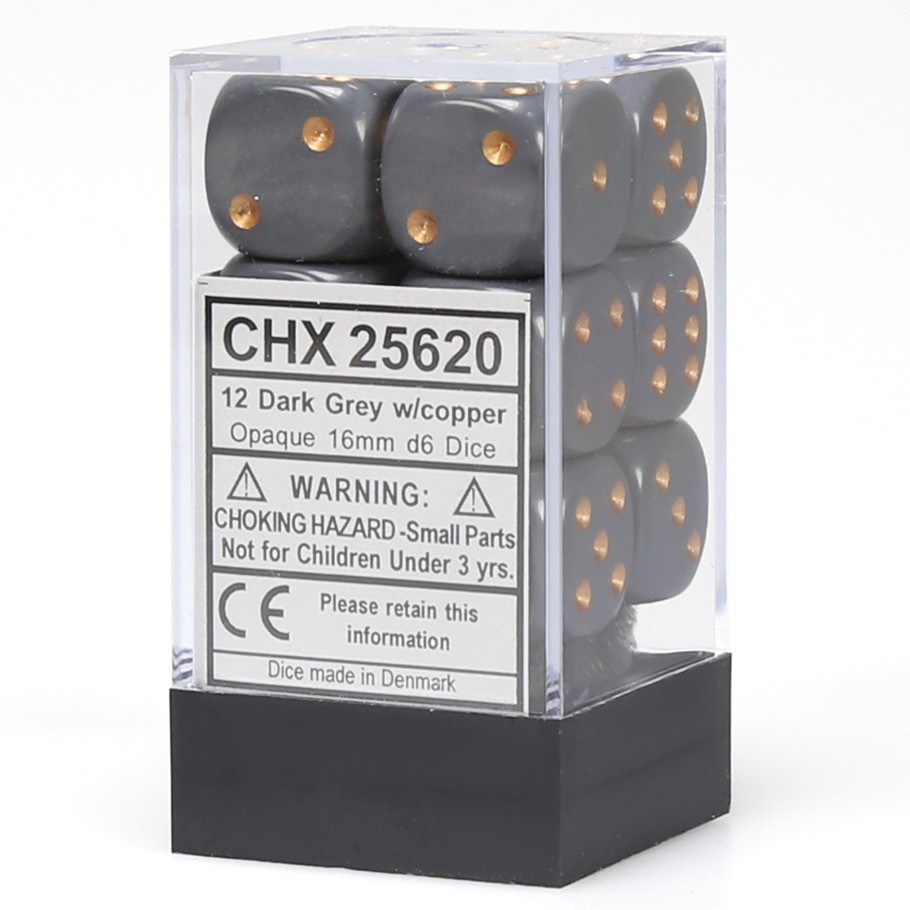 Chessex: D6 Opaque Cube Set (16mm) - Dark Grey/Copper image