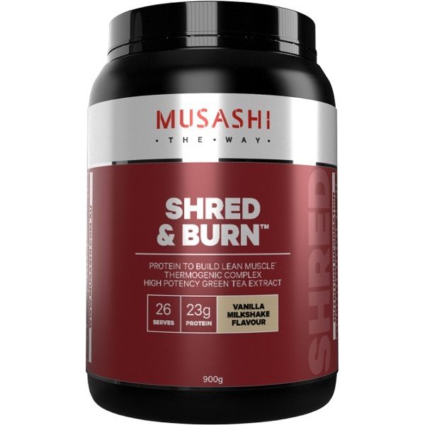 Musashi Shred & Burn Protein Powder - Vanilla Milkshake (900g)