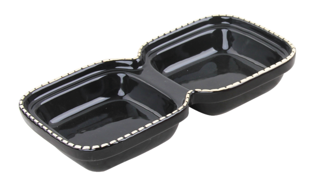 Pawise: Cat Double Bowl - 2x 250ml/Black