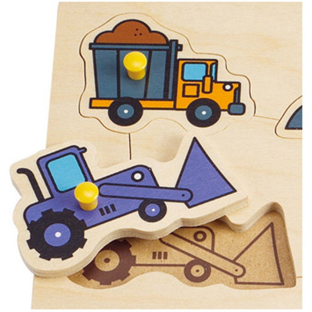 Hape: Construction Site Wooden Peg Puzzle image