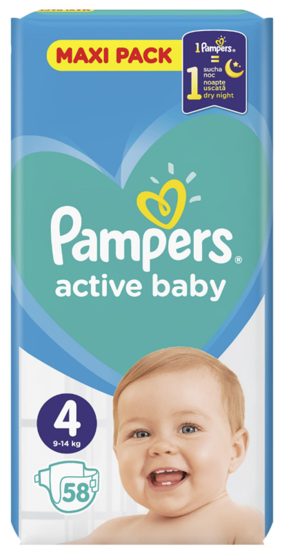 Pampers: Active Baby Nappies - Maxi Size 4 (58 pack)