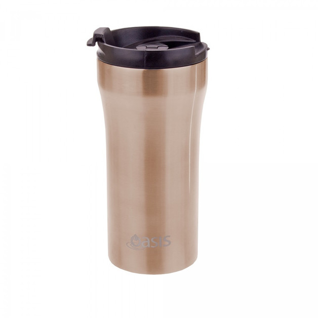 Oasis Stainless Steel Insulated Plunger Travel Cup 350ml Champagne