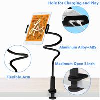 2-in-1 Cellphone/Tablet Stand - Flexible Long Arm Gooseneck (Black)