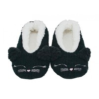 Annabel Trends Little Faces Slippers - Black Cat (Medium/Large)