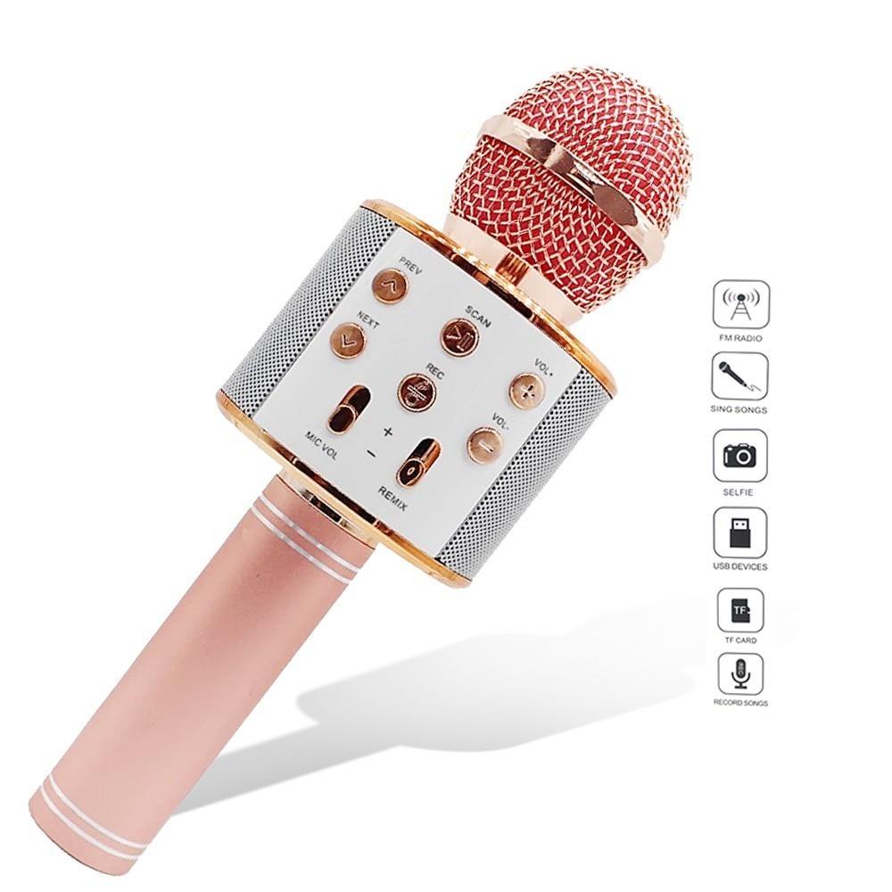 Karaoke Microphone with Bluetooth Speaker - Rose Gold image