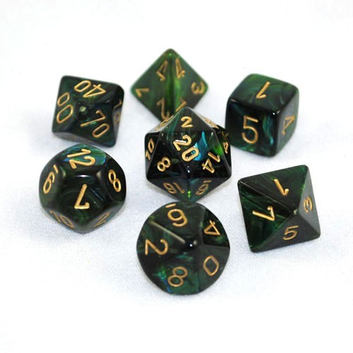 Chessex Signature Polyhedral Dice Set Scarab Jade/Gold image