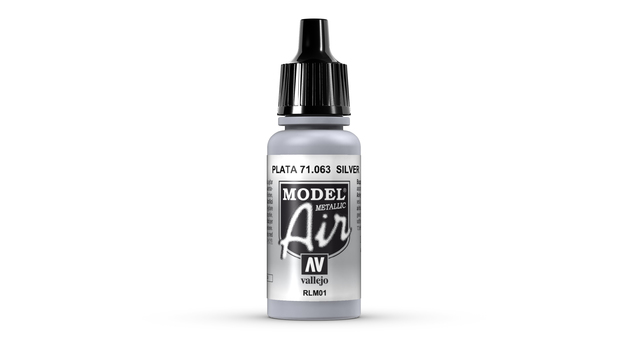 Vallejo Model Air Silver Acrylic Paint 17ml