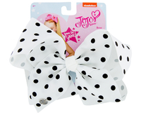 JoJo Siwa Small Polka Dot Large Bow - White with Black Dots
