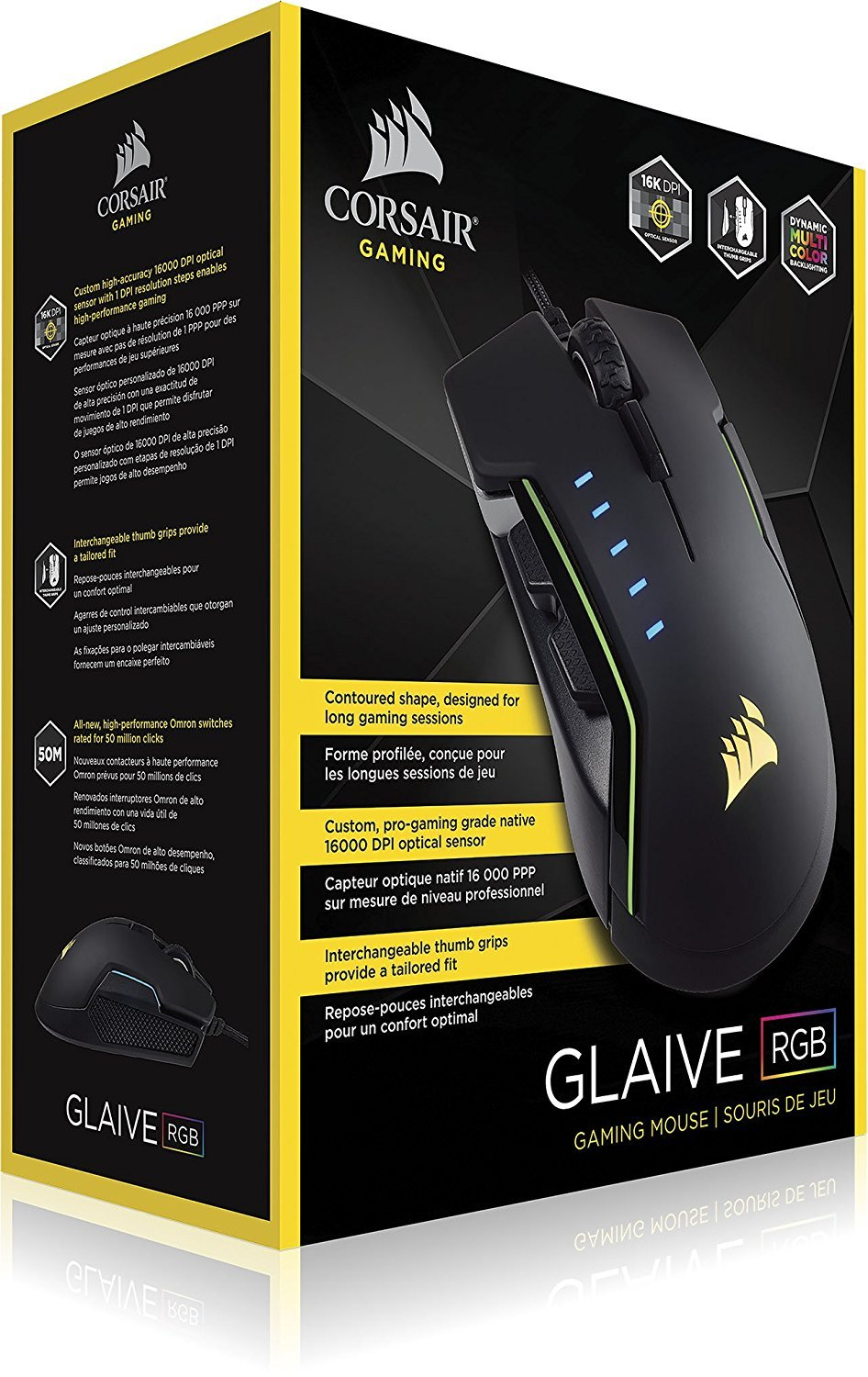 Corsair GLAIVE RGB Gaming Mouse - Aluminium for PC Games image