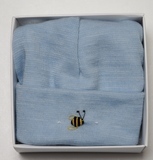 Dimples: Gift Boxed - Merino Pastel Marl Beanie - Blue (3-6 Months)