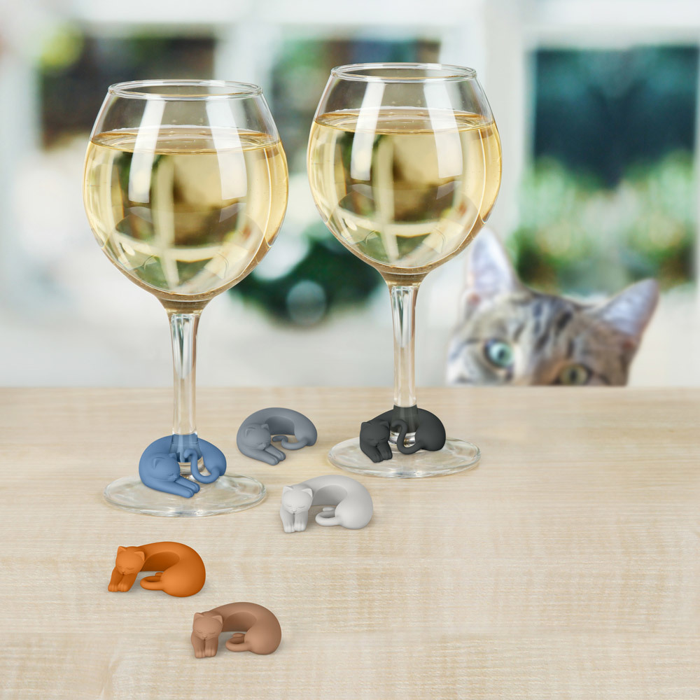 Wine Lives - Kitty Wine Markers (Set of 6) image