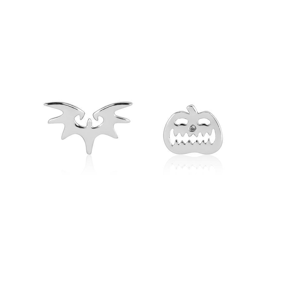 Couture Kingdom: NBC Bat & Pumpkin Mix-Match Stud Earrings - Silver image