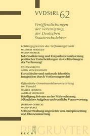 Leistungsgrenzen Des Verfassungsrechts. Offentliche Gemeinwohlverantwortung Im Wandel by Professor of Law Matthias Herdegen, Auteur (Director of the Institute for Public Law and Director of the Institute for International Law, Rheinische F